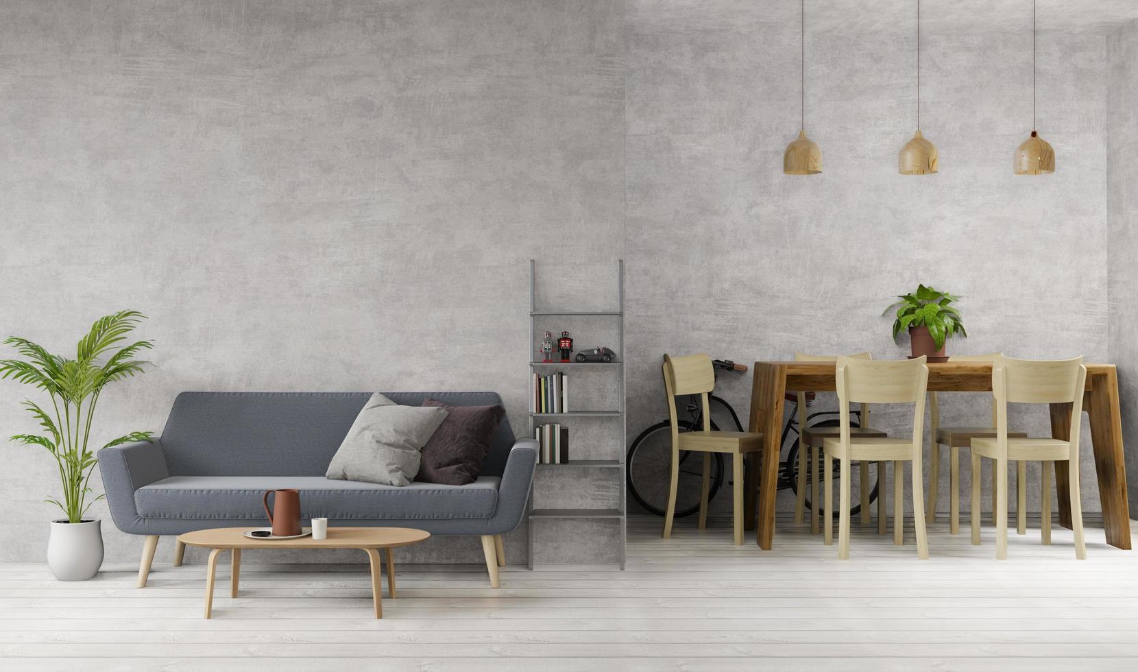 Diseño de interiores de estilo loft, sala de estar y comedor, 3d foto