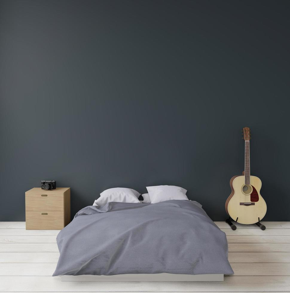 Dark modern bedroom with guitar and camera, mock up, copy space photo