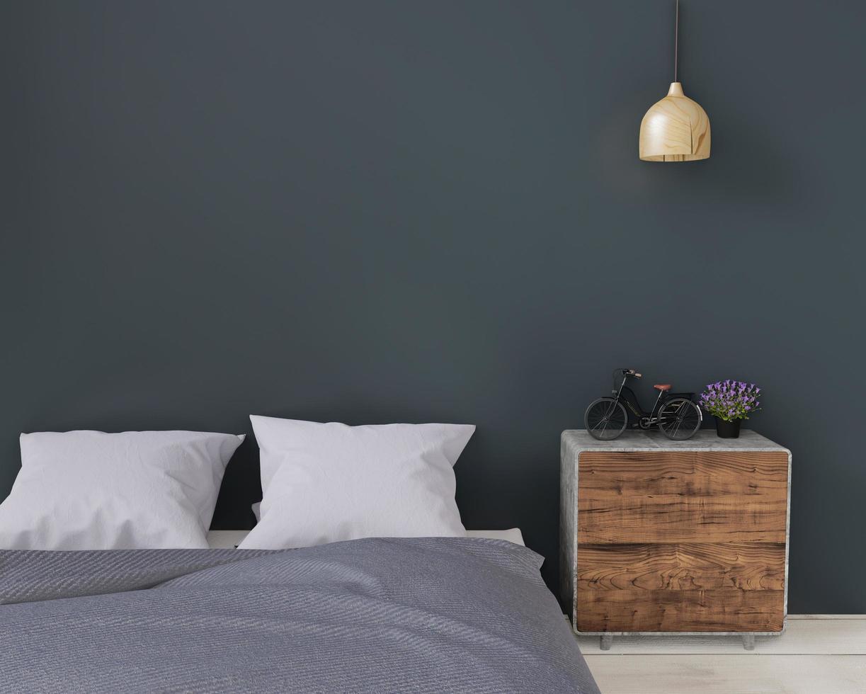 dormitorio moderno oscuro con aparador y lámpara, maqueta, espacio de copia foto