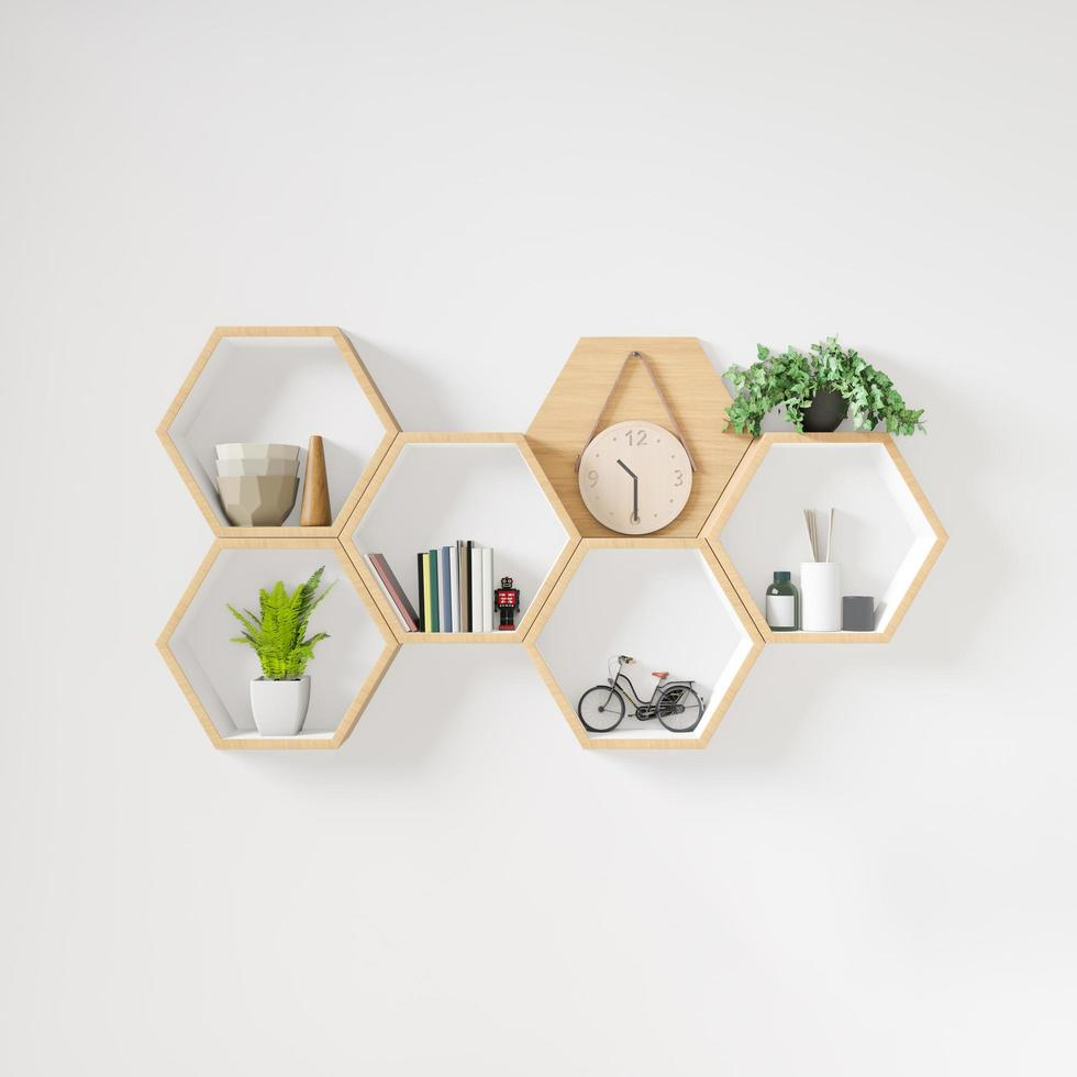 Hexagon wooden shelf with decorative elements photo
