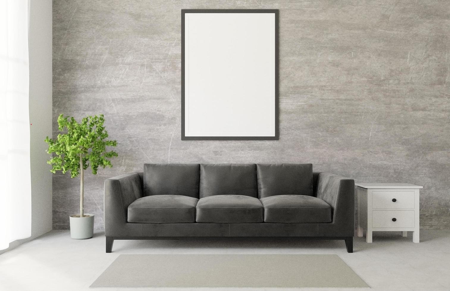 Loft style living room mock up photo