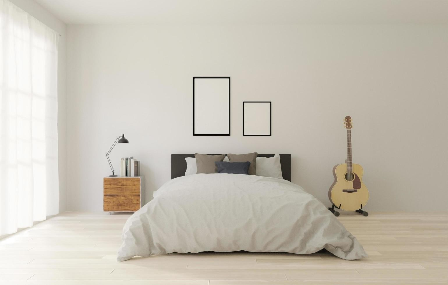 dormitorio tipo loft con pared blanca foto