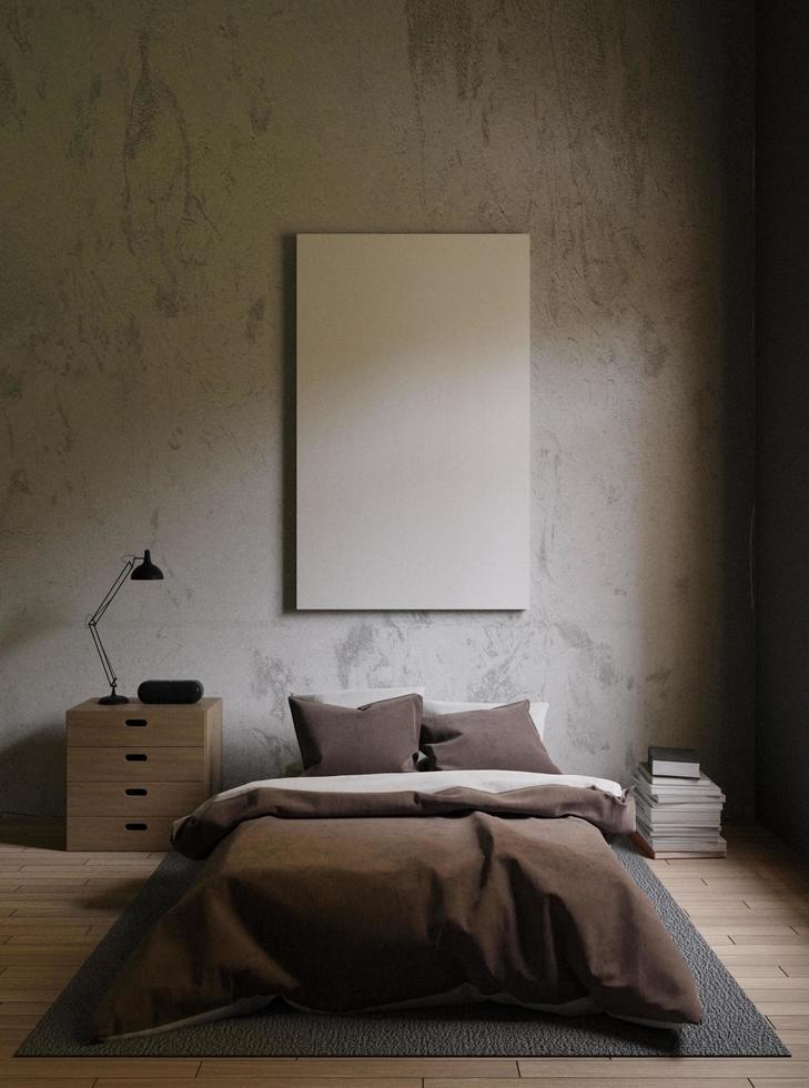 Representación 3D de una habitación con poca luz y decoración minimalista. foto