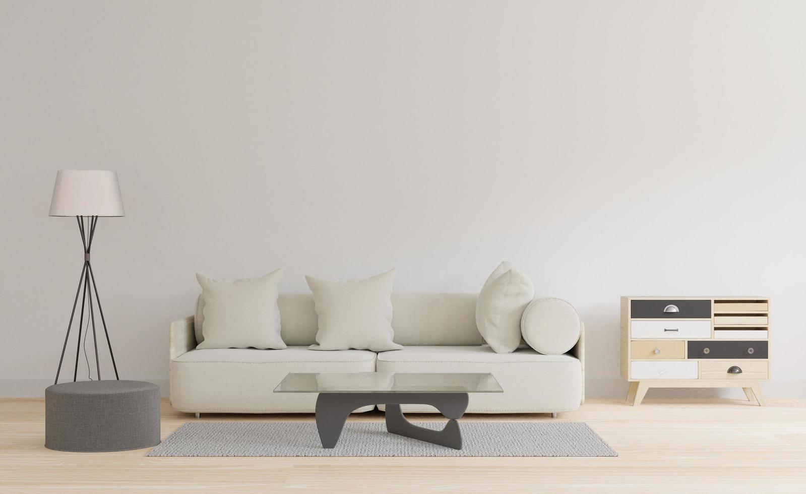 Moderna sala de estar con mesa y alfombra, concepto minimalista japonés 3d foto
