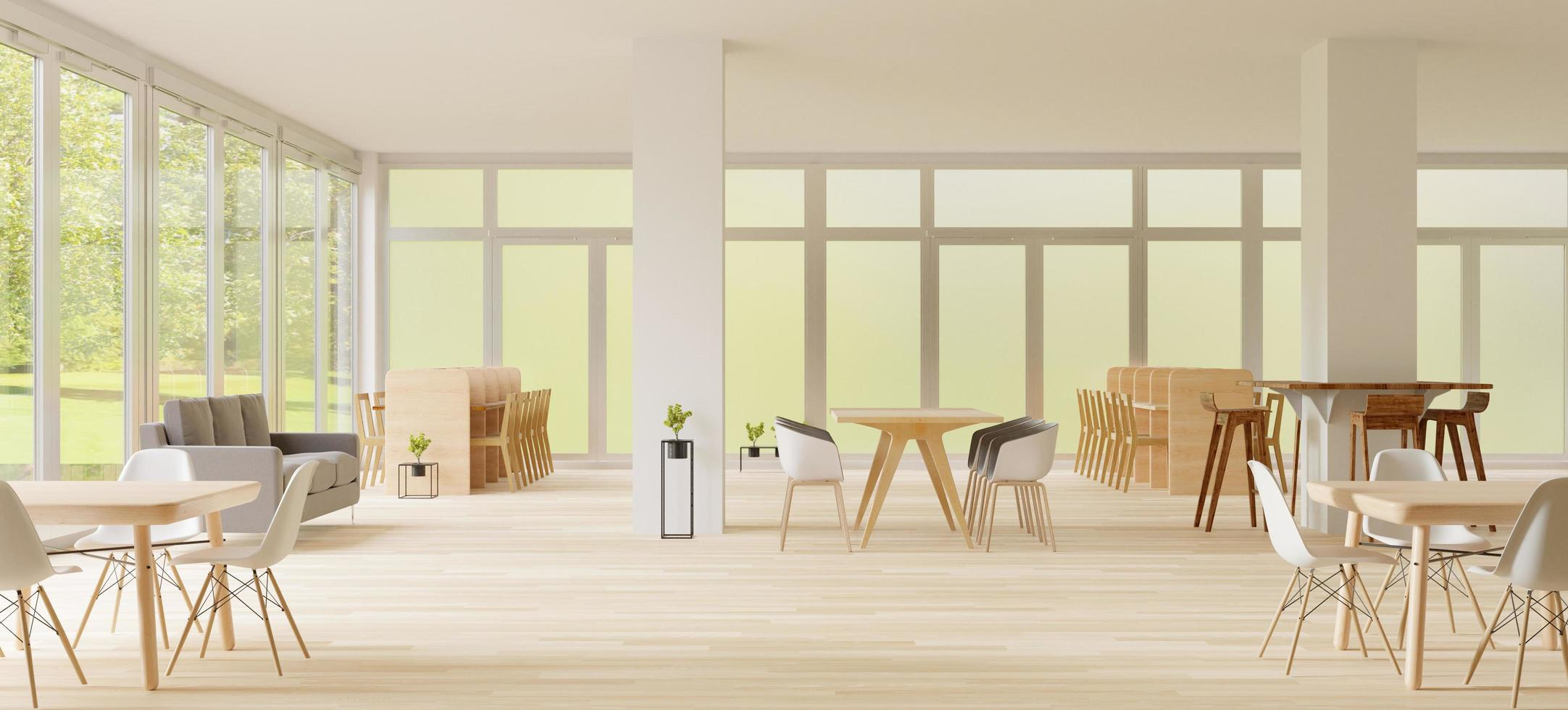 Co-working space, open concept 3D render photo