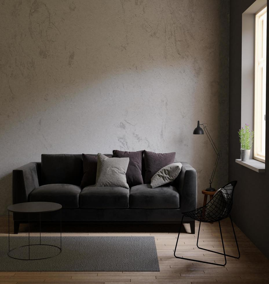Salón oscuro, estilo loft con materia prima, 3d foto