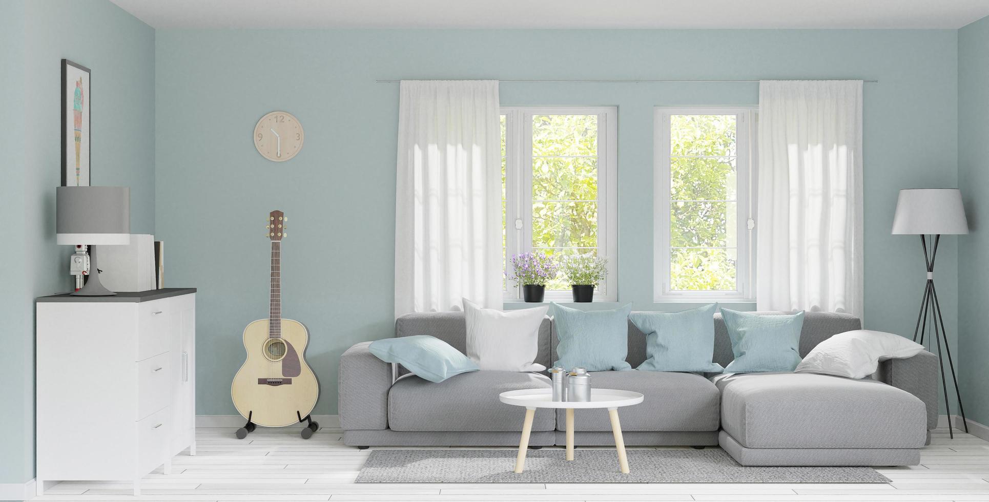 gran salón moderno con luz natural, maqueta foto