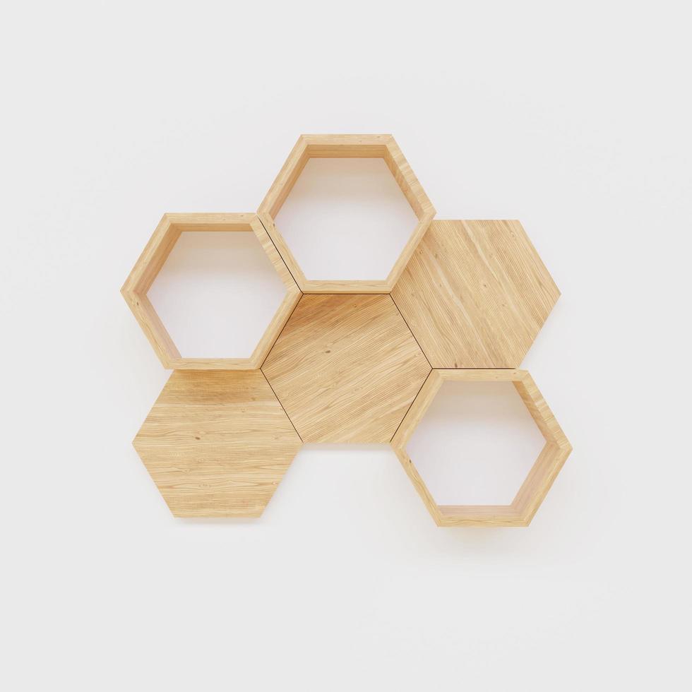 estante hexagonal en la pared en blanco foto