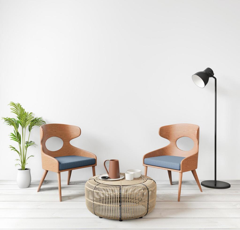 maqueta interior de sala de estar moderna, estilo loft foto