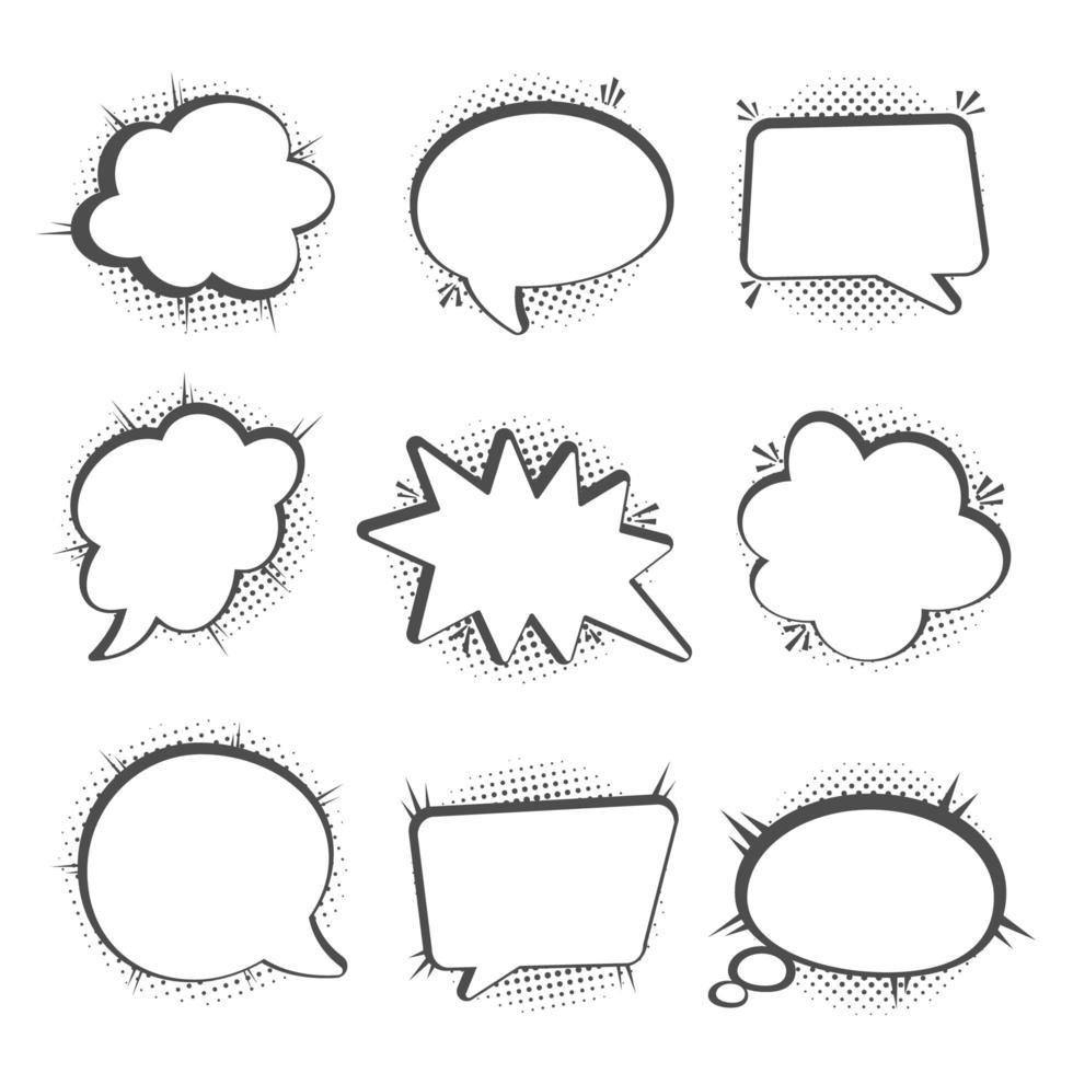 burbujas de discurso con sombras de medios tonos vector