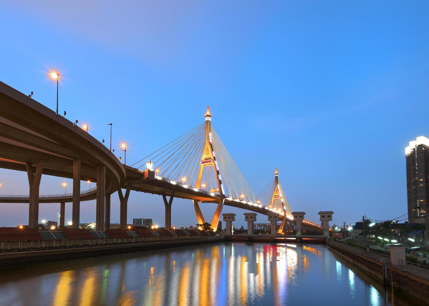 El puente Bhumibol en Tailandia iluminado después del atardecer foto