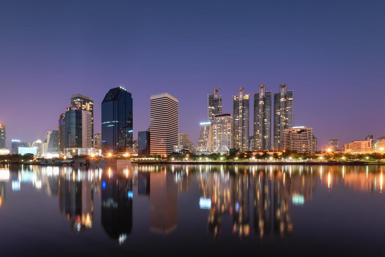 Bangkok business district at dusk photo