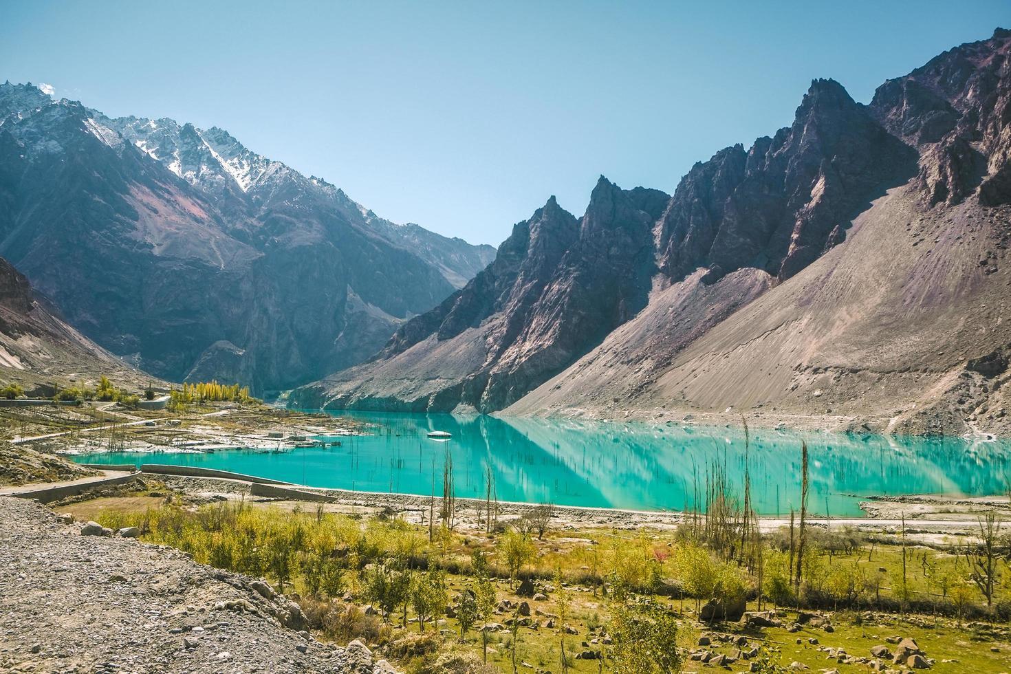 Attabad lake in Karakoram Mountain Range, Hunza valley, Pakistan. photo