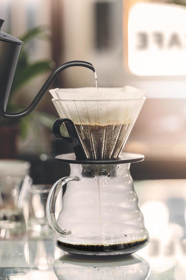 Drip coffee brewing, closeup view photo