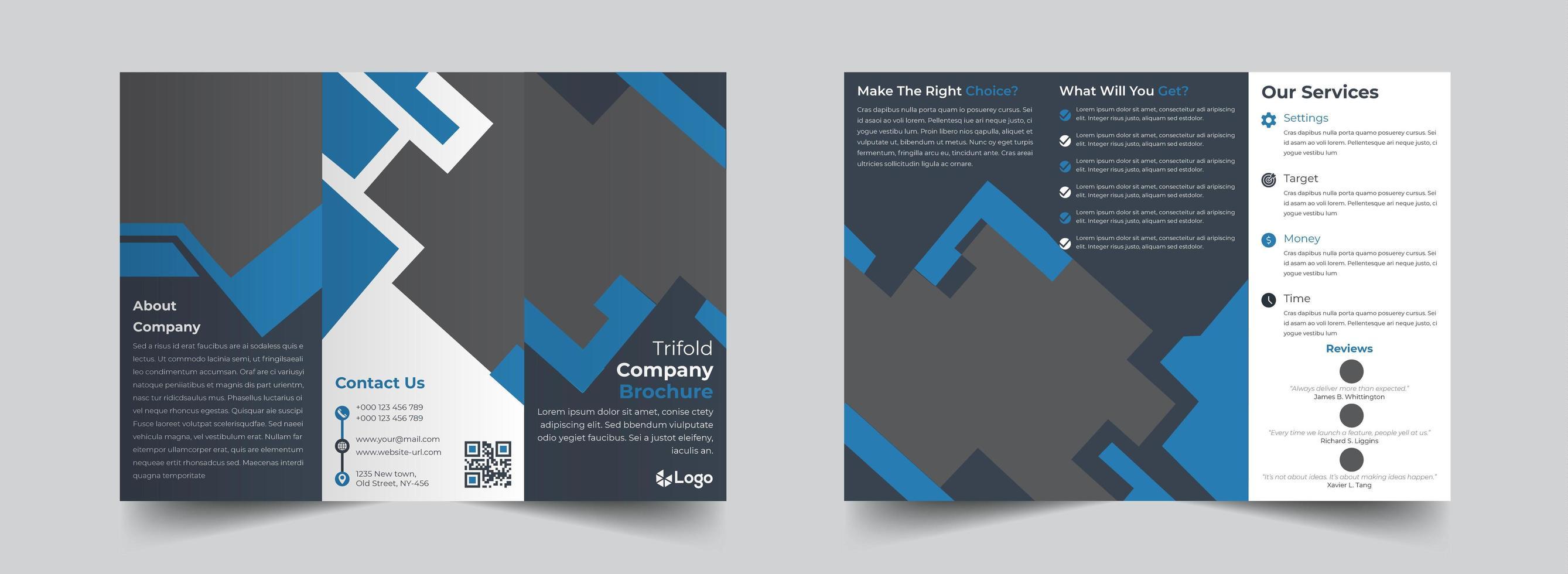 Corporate trifold brochure design template vector