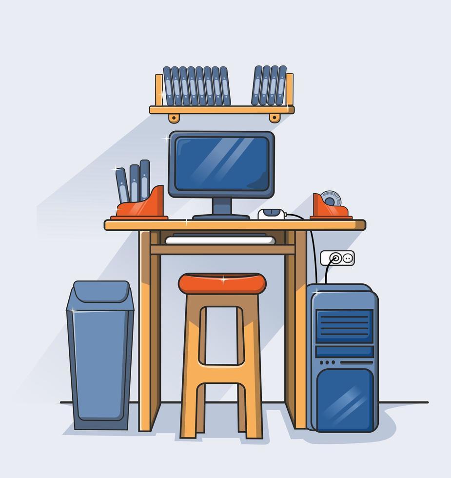 espacio de trabajo de diseño plano vector