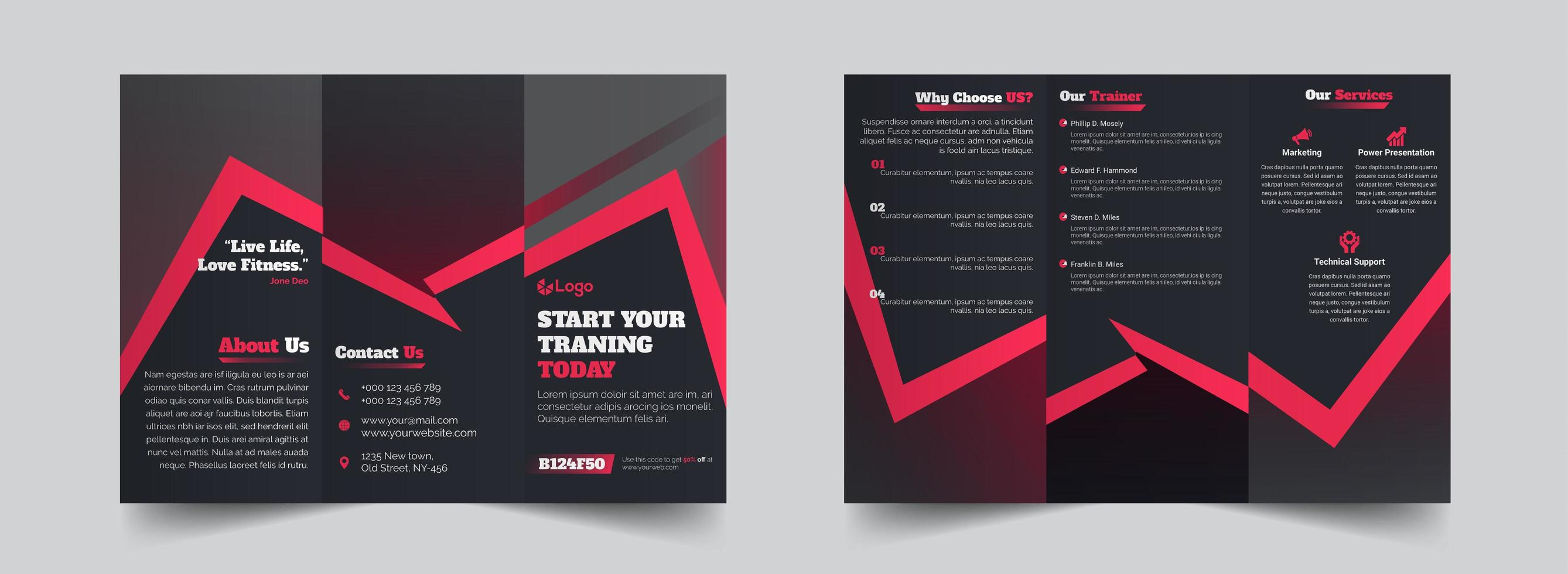 Grey with red gym fitness trifold brochure design template vector