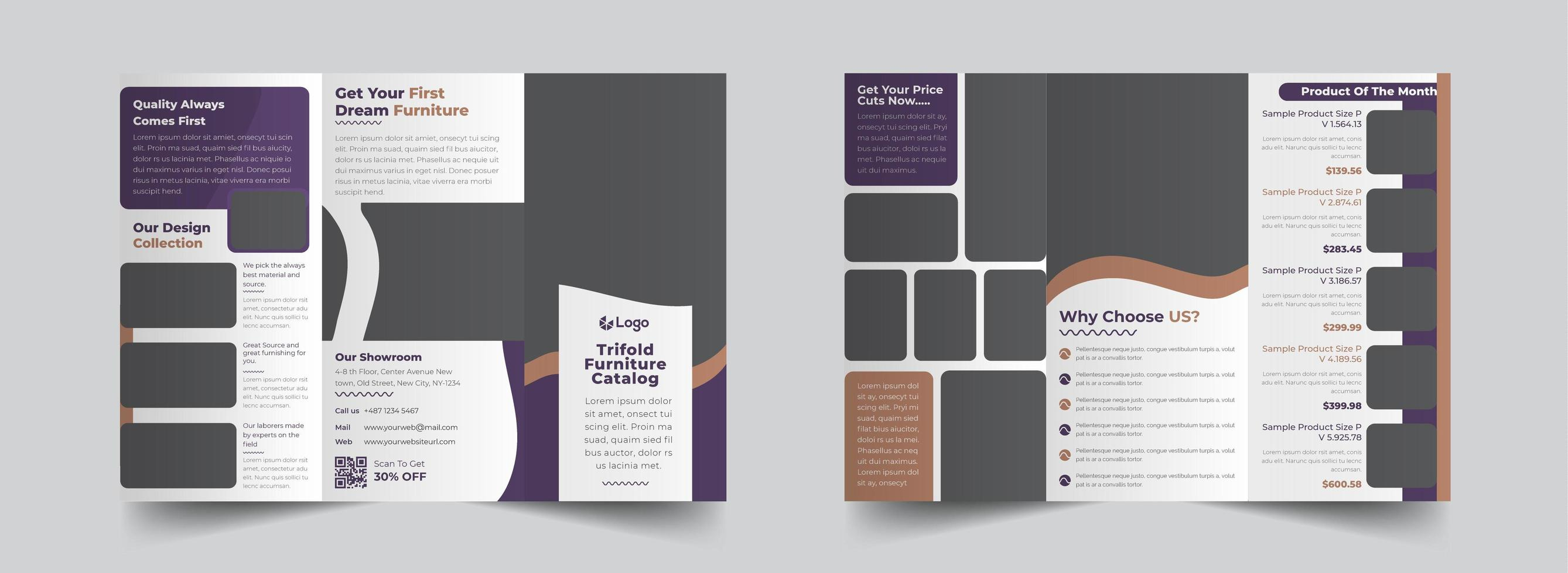 Grey with Purple Trifold Business Brochure Template  vector