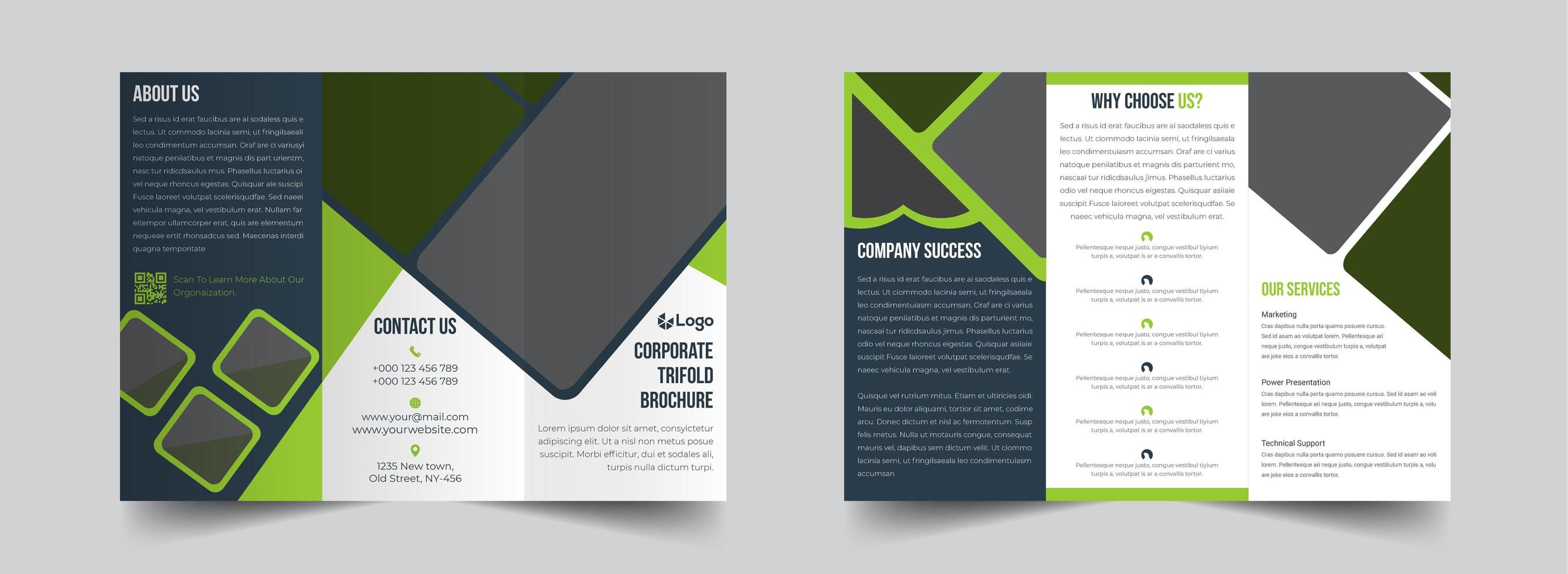 Corporate green and grey trifold brochure template vector