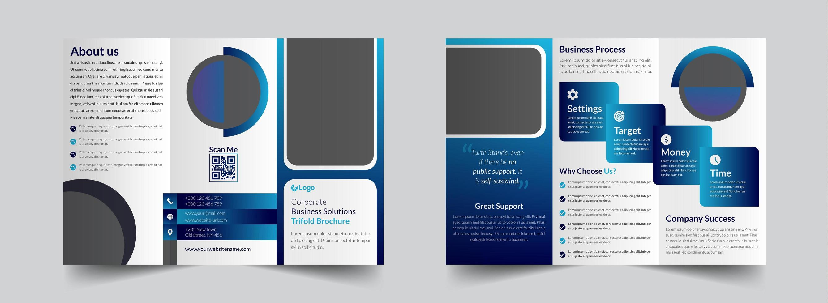 White and blue clean corporate trifold brochure template vector