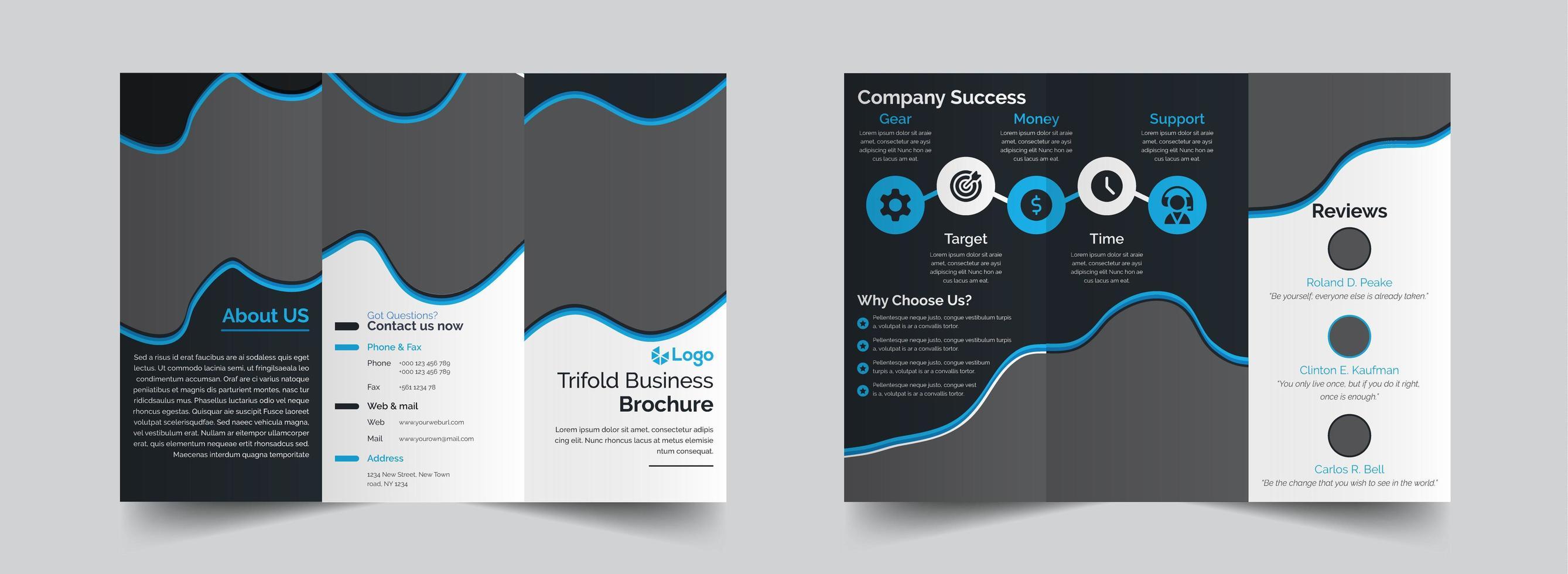 Trifold fluid shape brochure design template vector