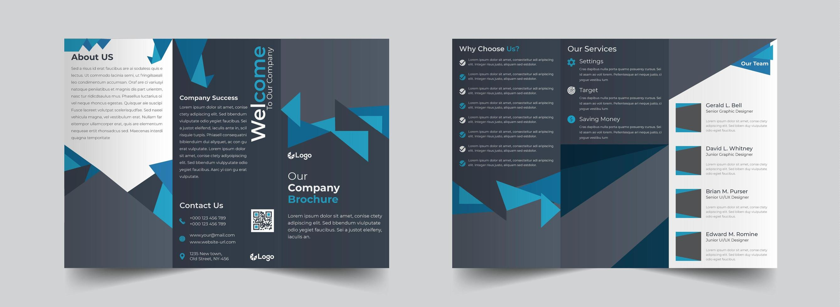 Blue and grey triangular shapes corporate trifold brochure template  vector