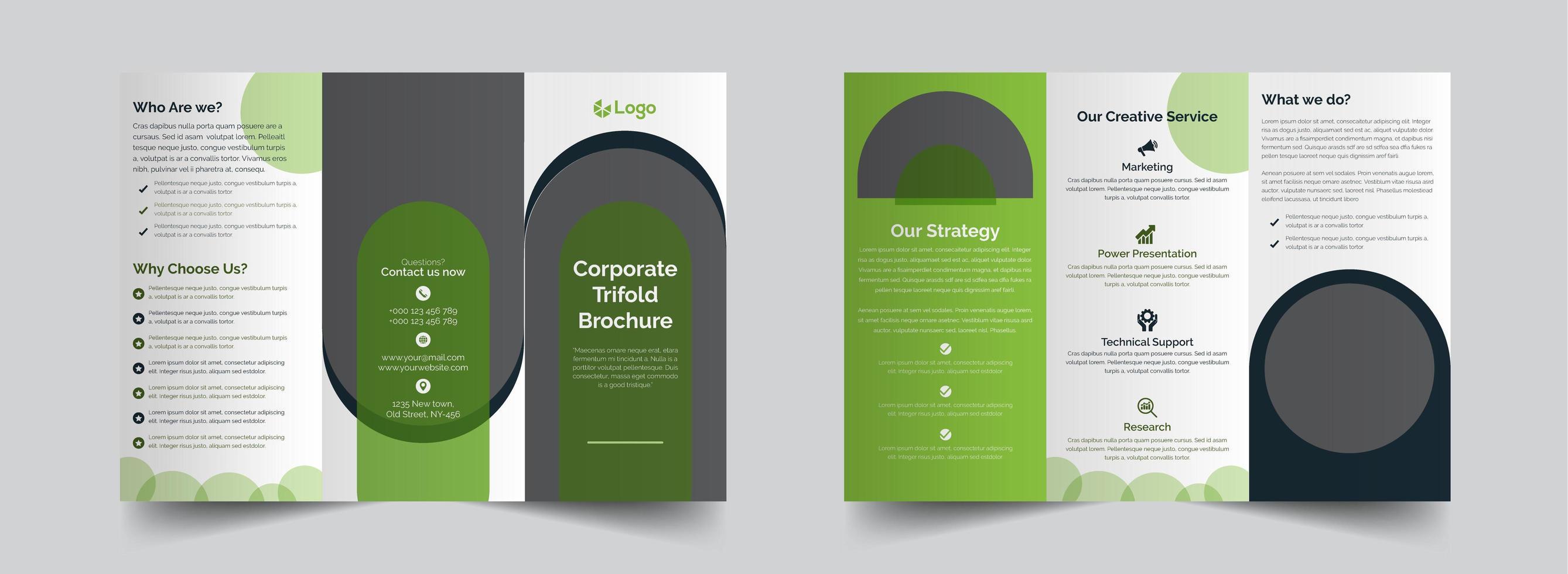 corporate green trifold brochure design template vector