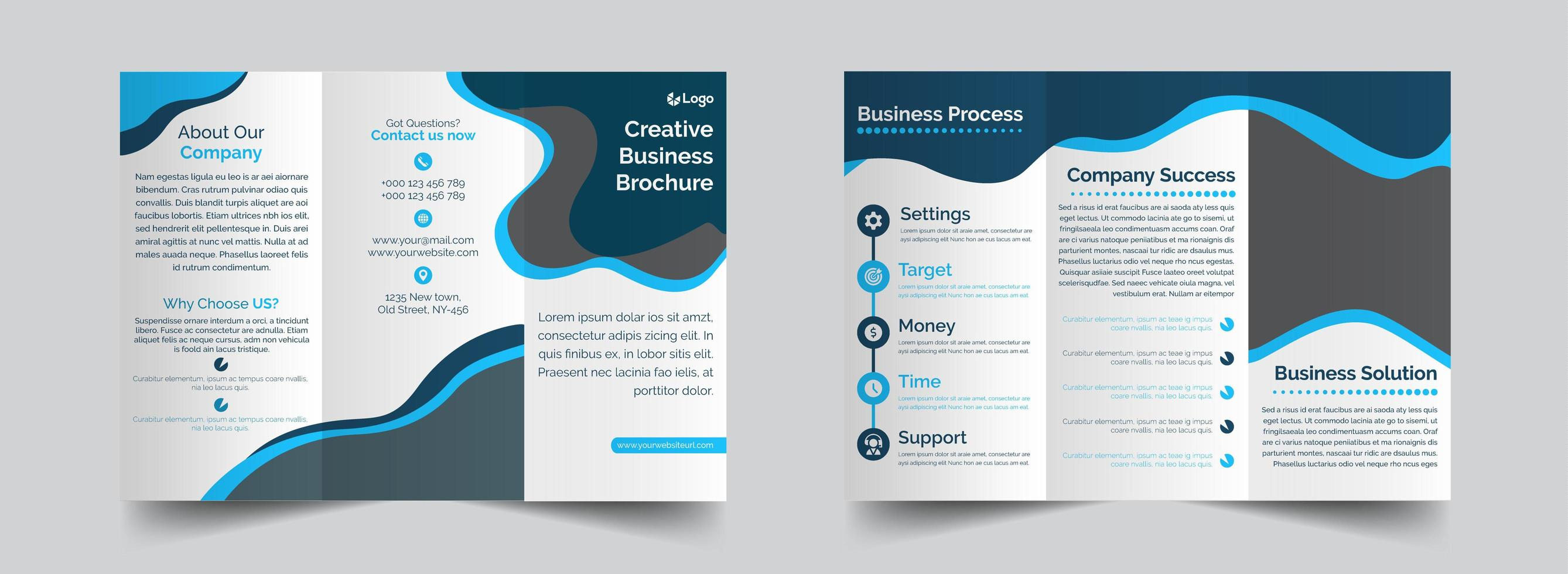 Blue and grey creative trifold brochure template vector