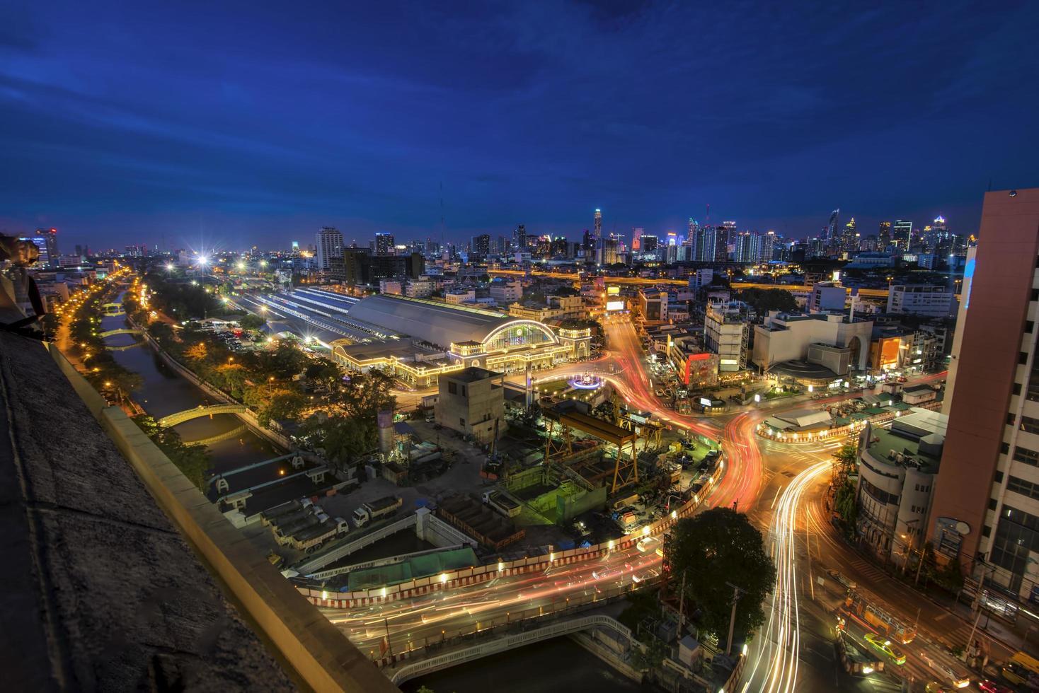 Bangkok Railway Station at night in Thailand photo