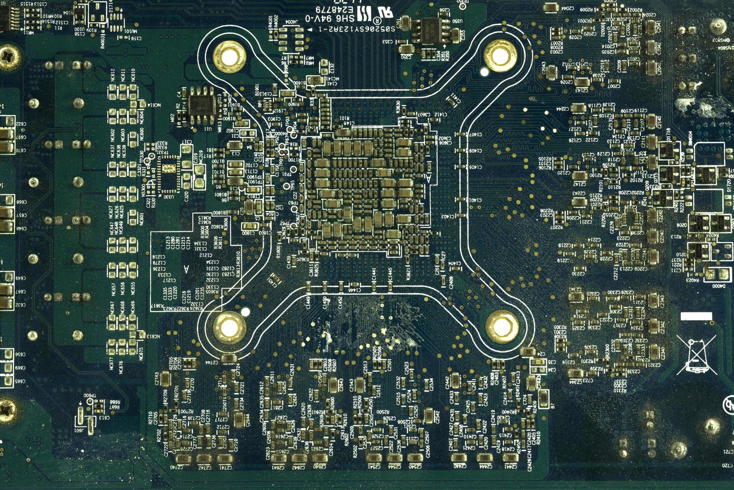 Close up of blue circuit board photo