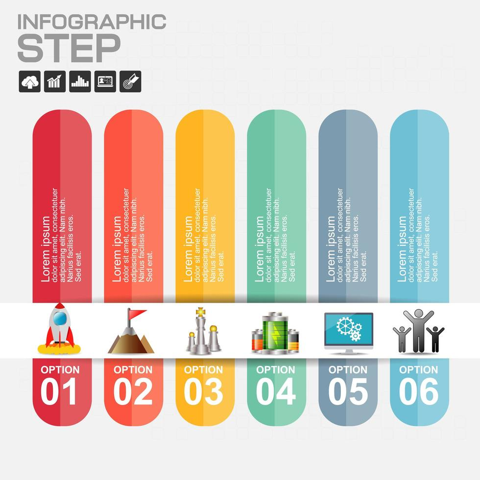 infográfico de papel colorido de 6 etapas com ícones de marketing vetor
