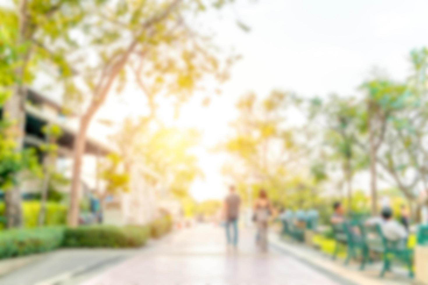 Abstract blurred image of people relaxing in the park photo