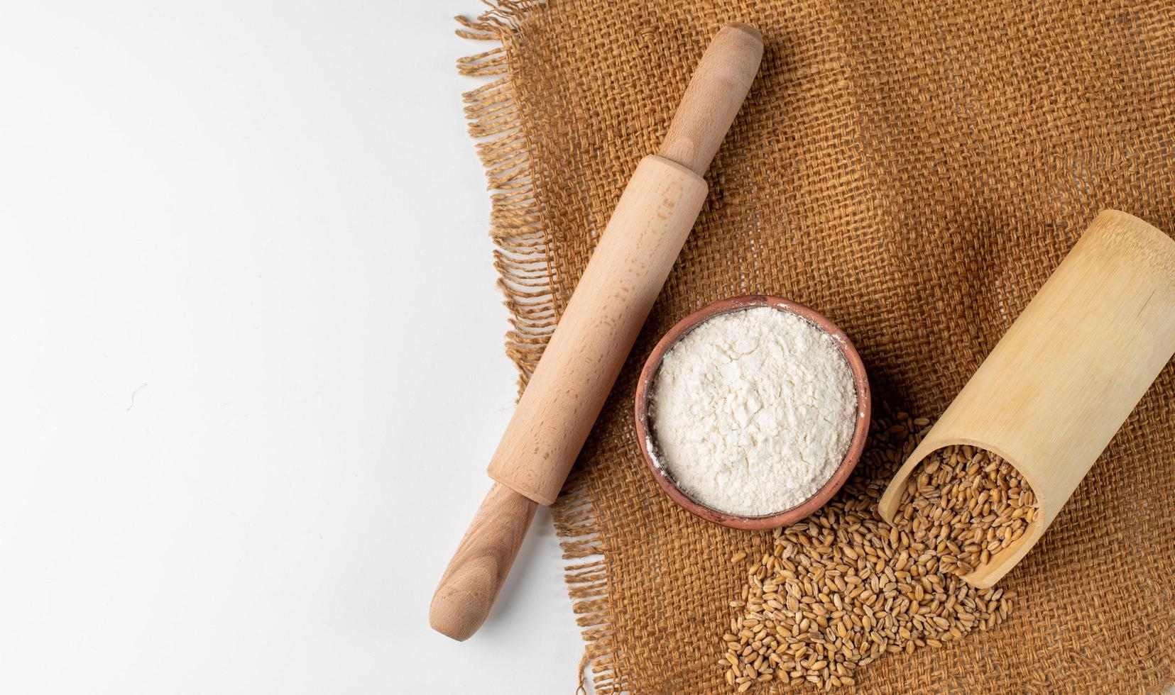 Baking essentials on natural cloth photo