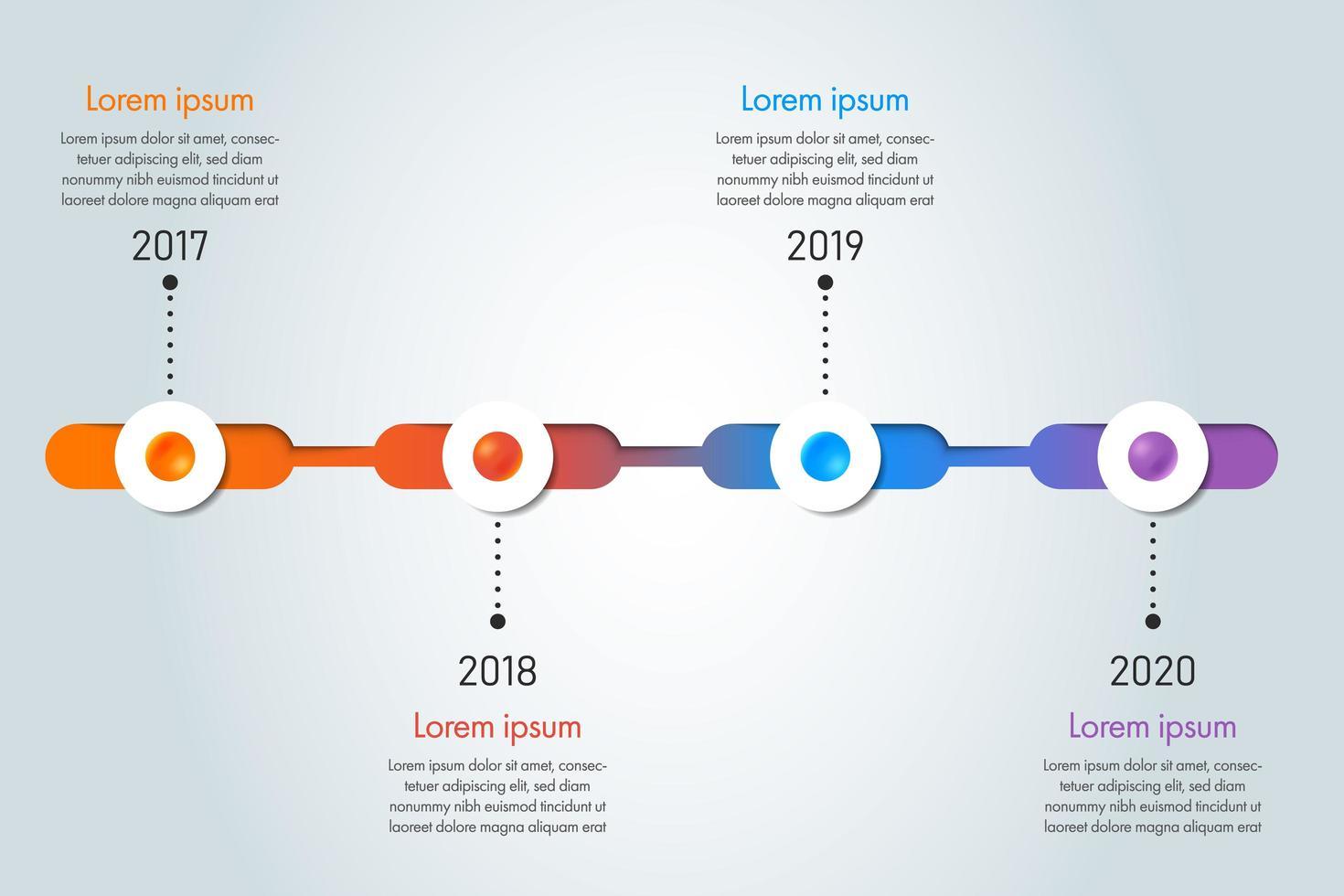 plantilla de infografía colorida línea de tiempo vector