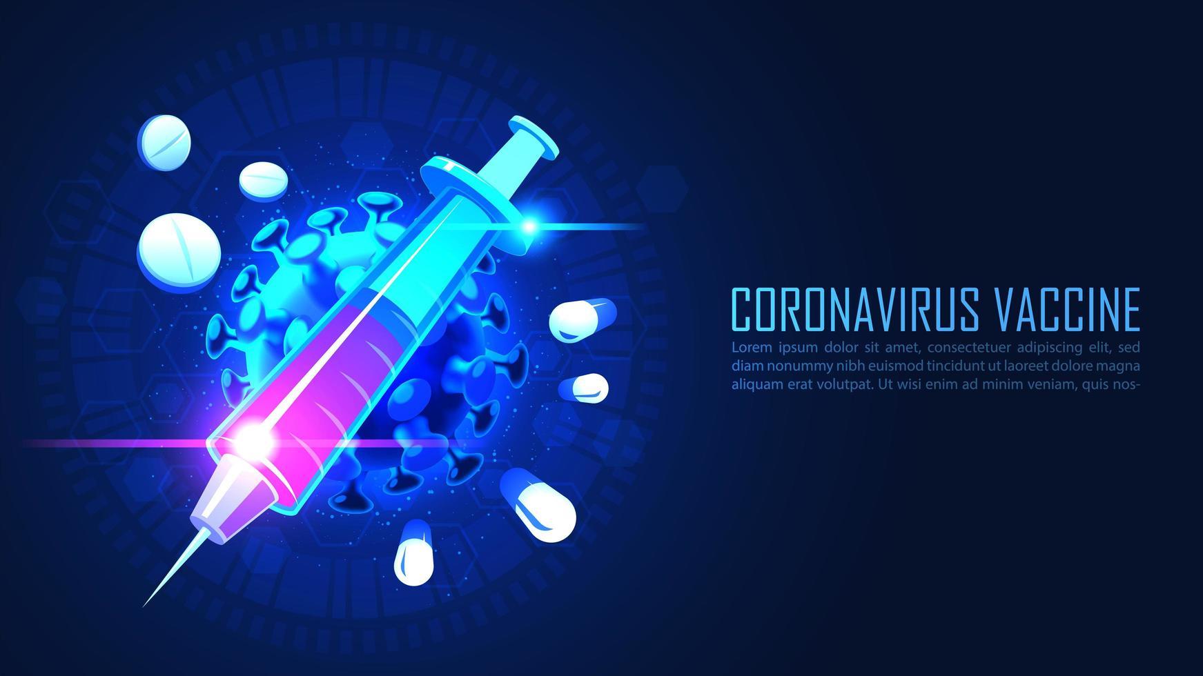 Medicine syringe with virus vaccine serum vector