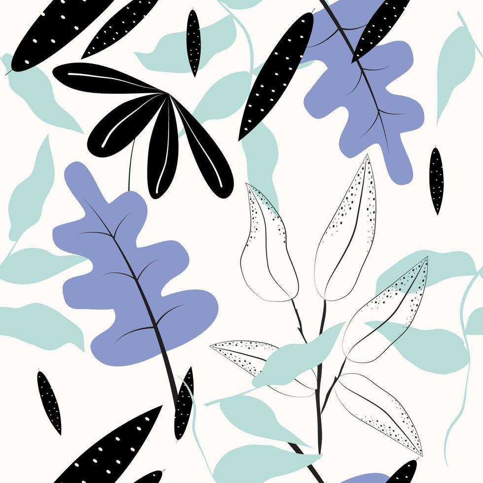 Minimalist flat style leaves and plants seamless pattern  vector