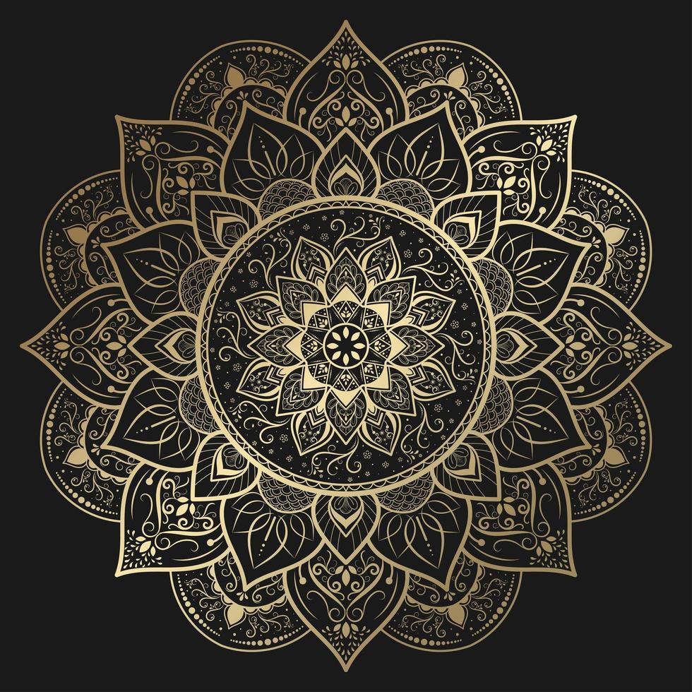 intrincado mandala de flores decorativas en oro vector