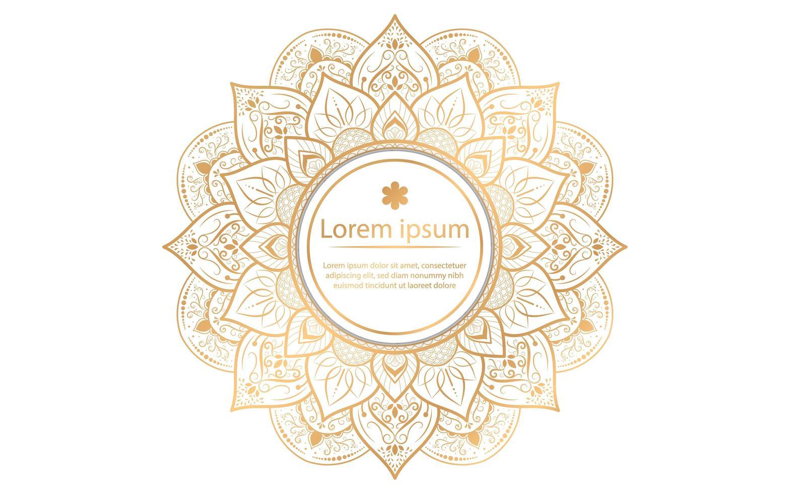 diseño de mandala vintage dorado con círculo en el centro vector
