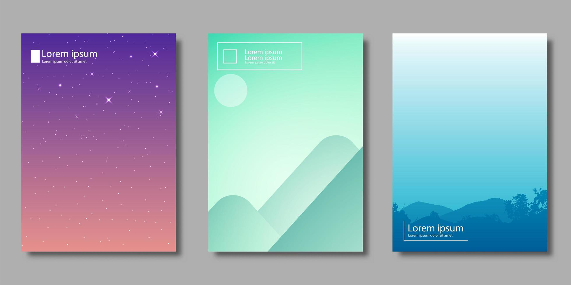 Gradient landscape and starry night covers vector