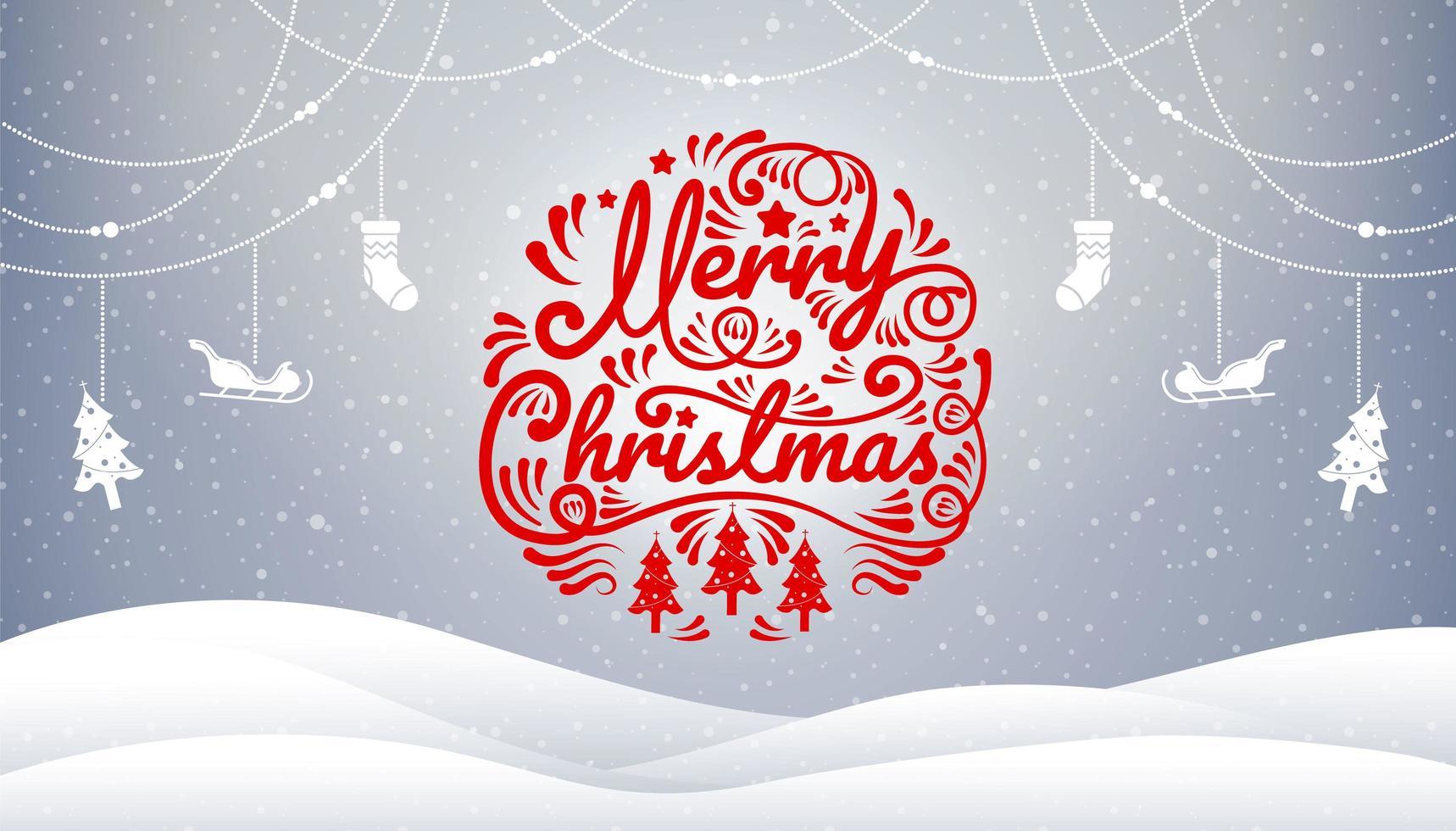 Escena de invierno con feliz caligrafía navideña y decoraciones vector