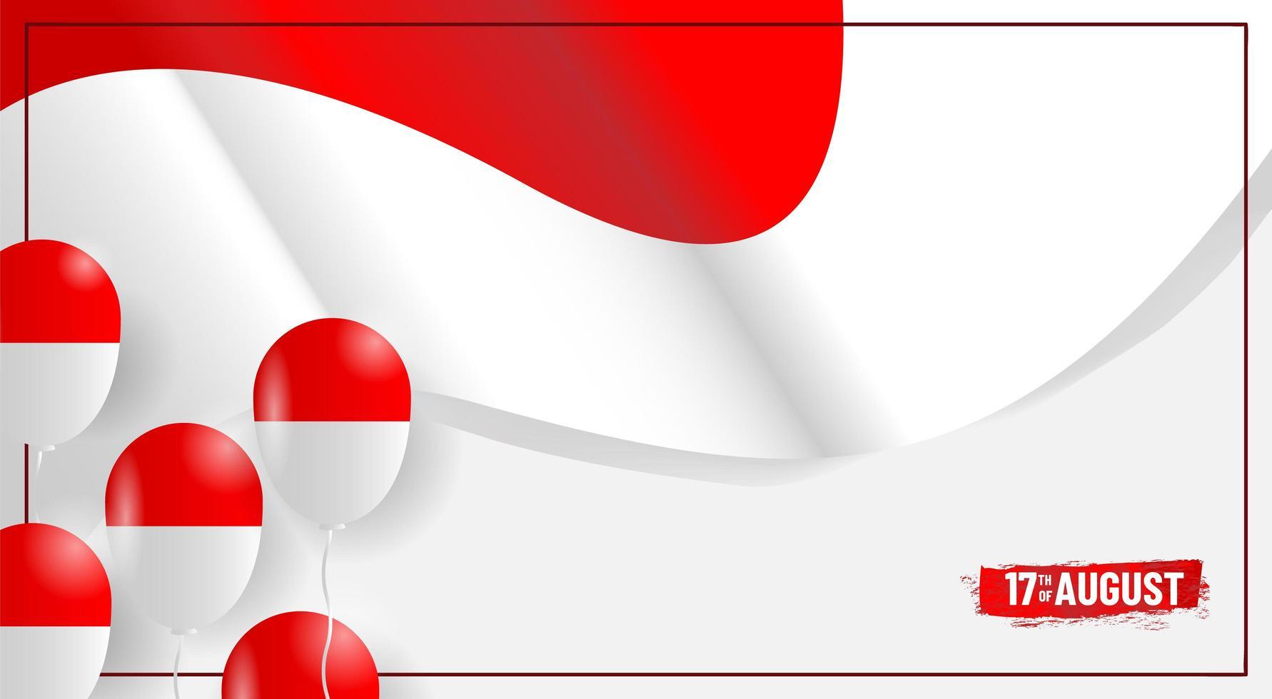 drapeau de la fête de l'indépendance de l'indonésie et conception de ballon vecteur