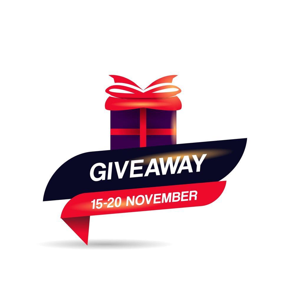 Giveaway emblem with goft box for social media vector