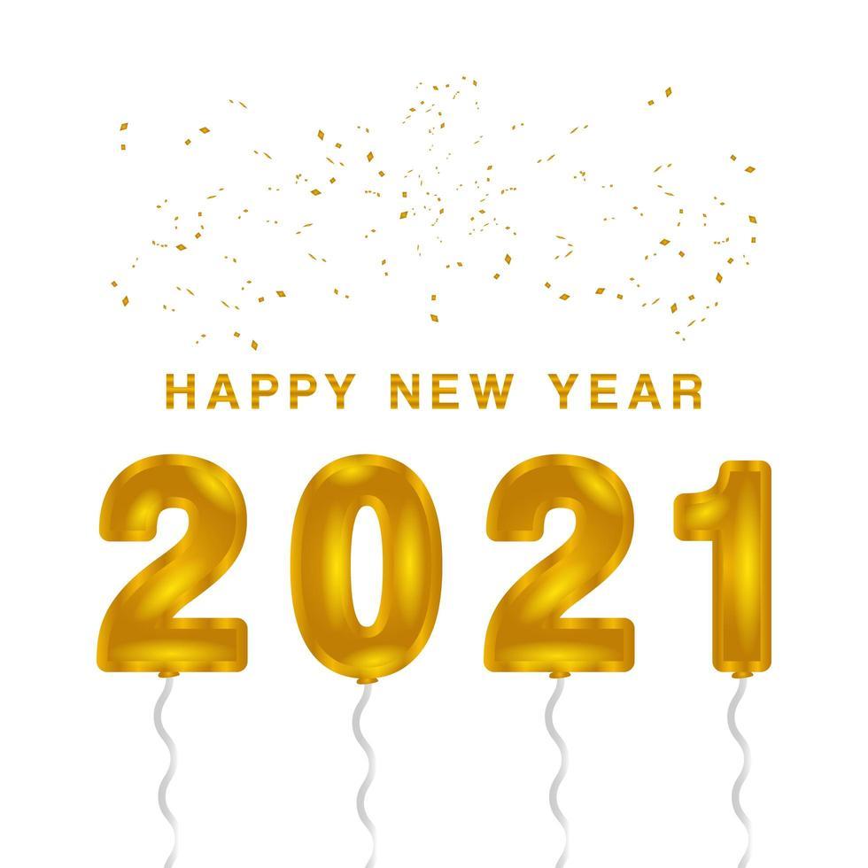 feliz año nuevo 2021 globos con brillo vector