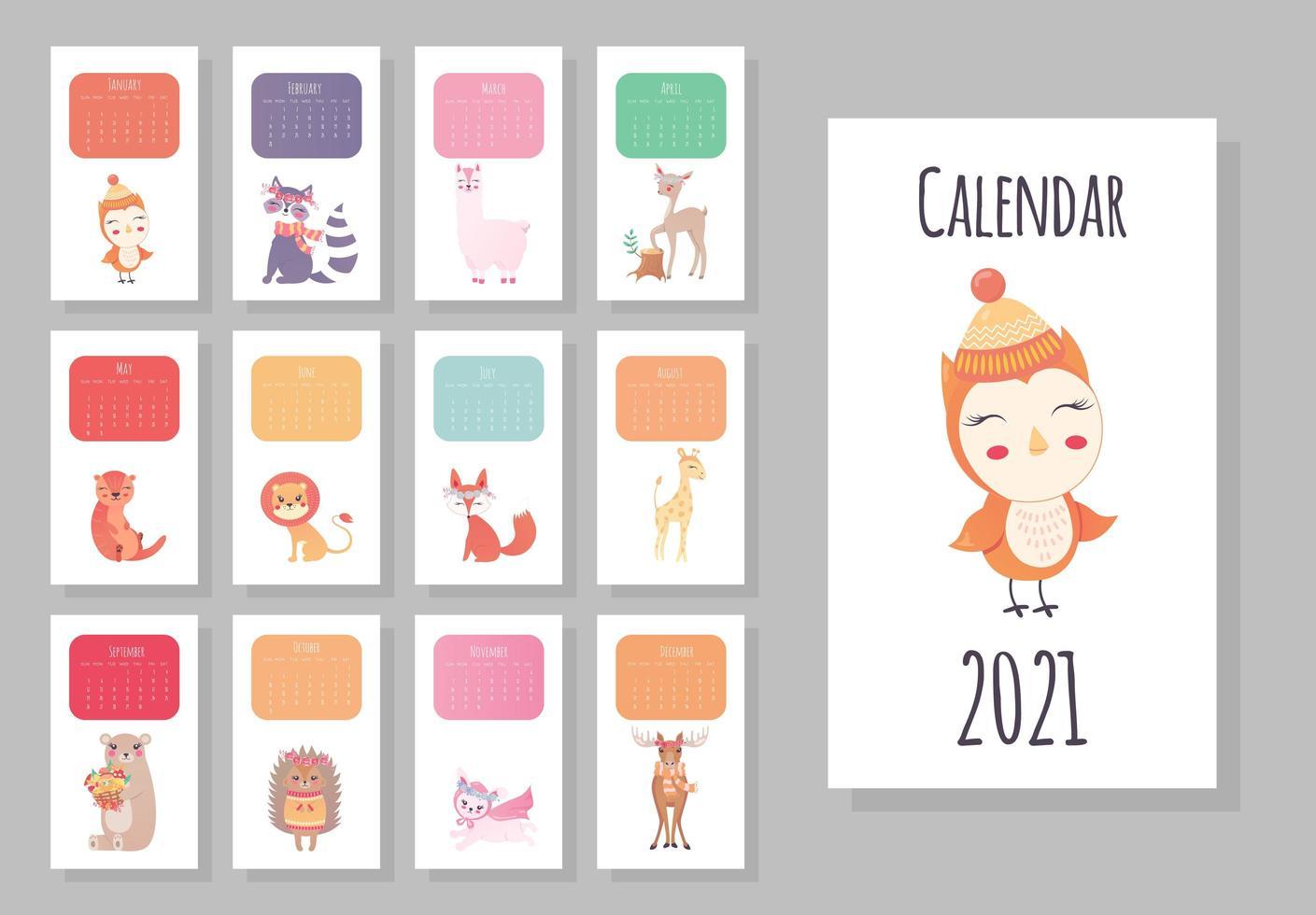 Calendario mensile 2021 con simpatici animali   Scarica Immagini