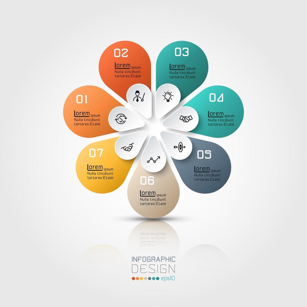 Infografía colorida forma floral 7 opciones vector