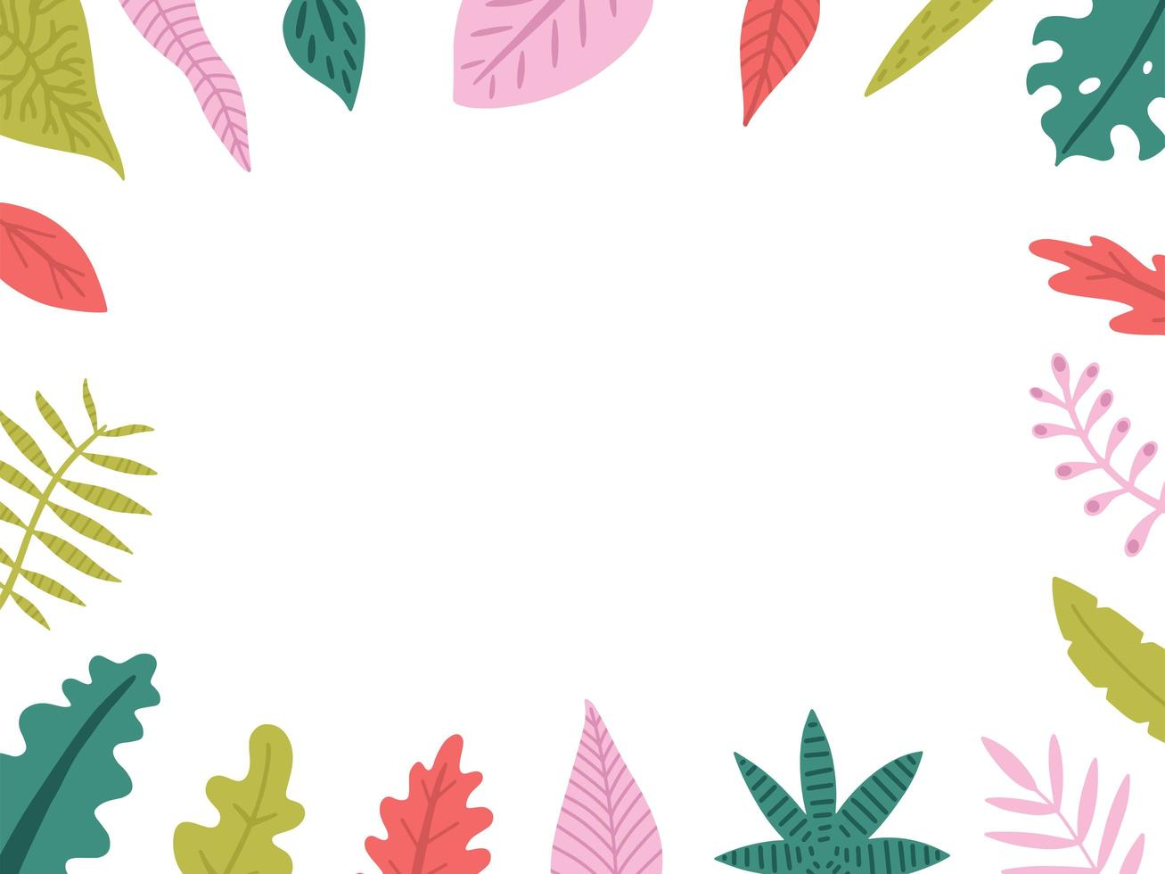 Hand drawn frame with exotic leaves vector