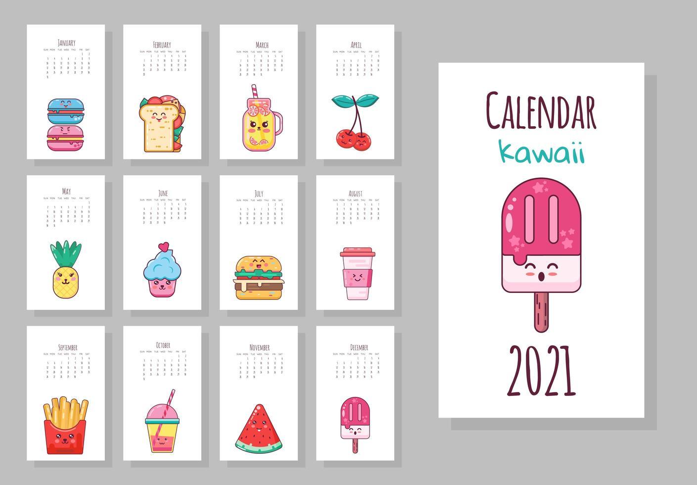 simpatico calendario mensile con oggetti alimentari kawaii