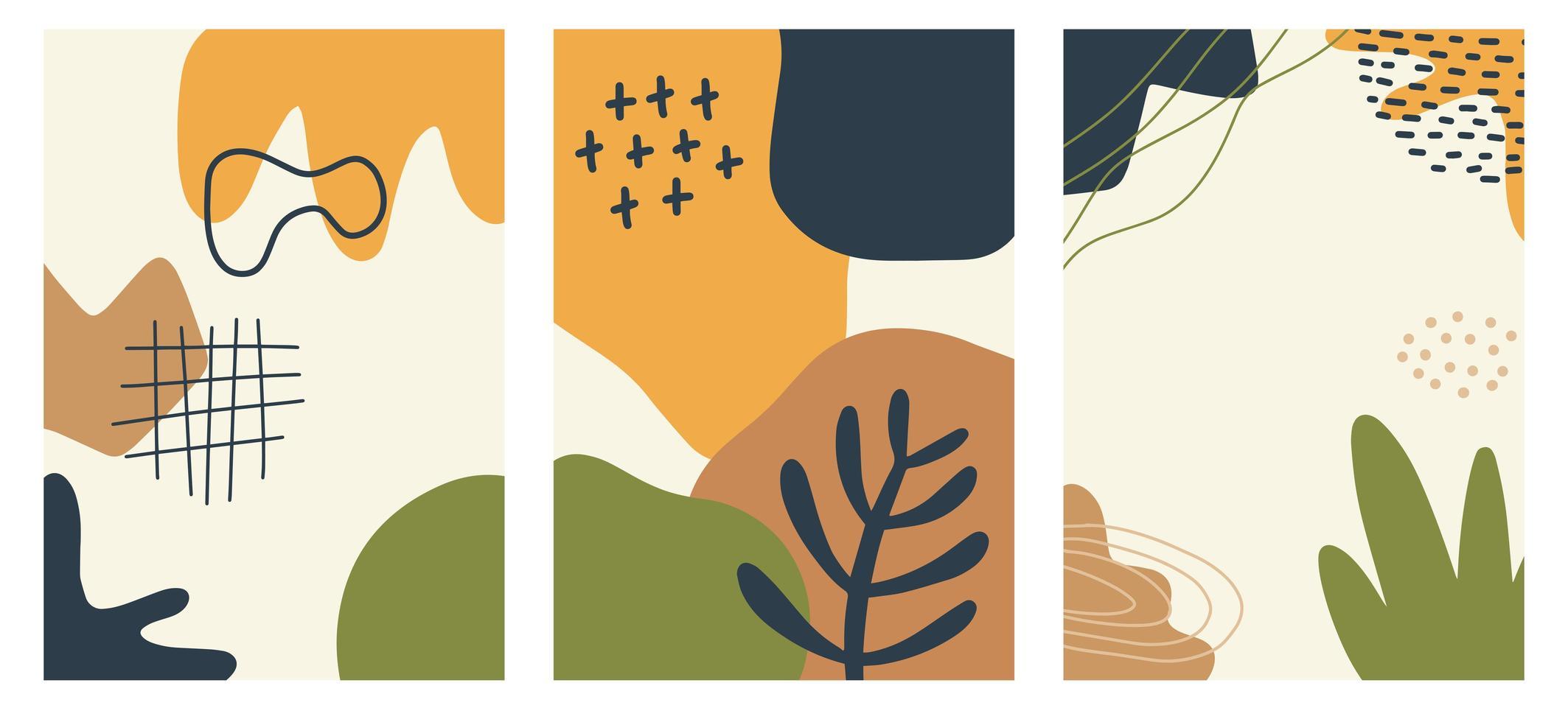 carteles de garabatos y formas abstractas de moda dibujados a mano vector