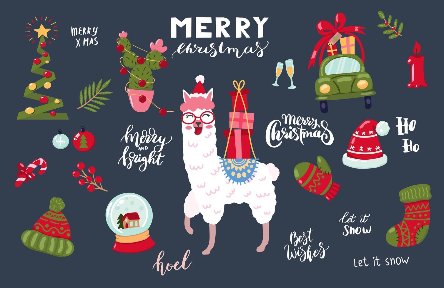 Hand drawn Christmas llama and items set vector