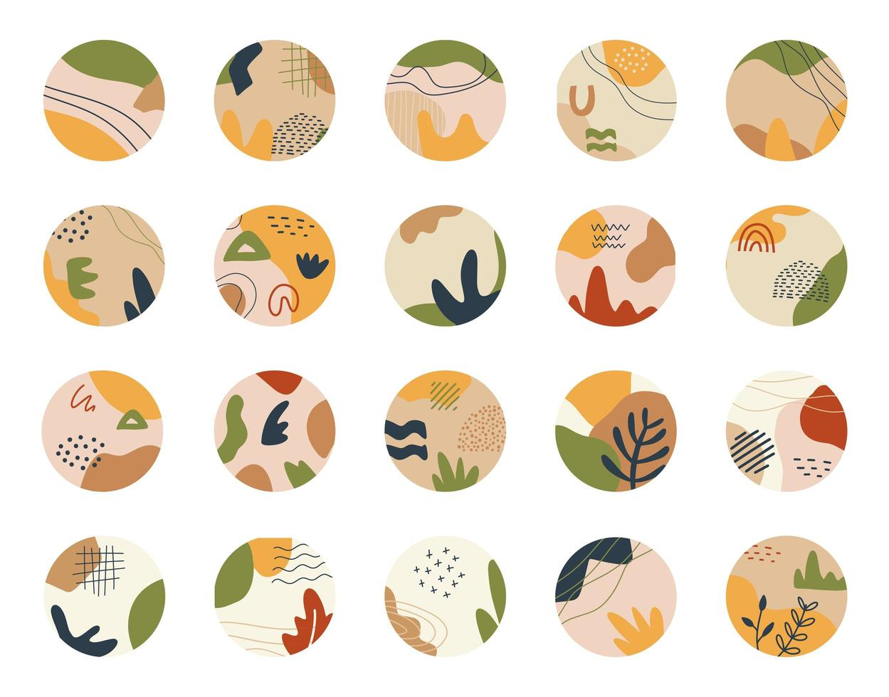 Trendy round asbtract shape icons for social media vector